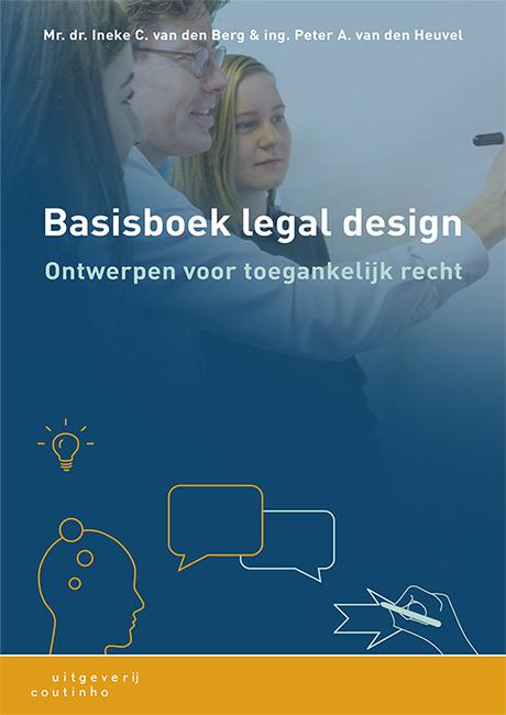 Voorkant Basisboek legal design met docent en studenten die ideeën ontwikkelen, bespreken en tekenen